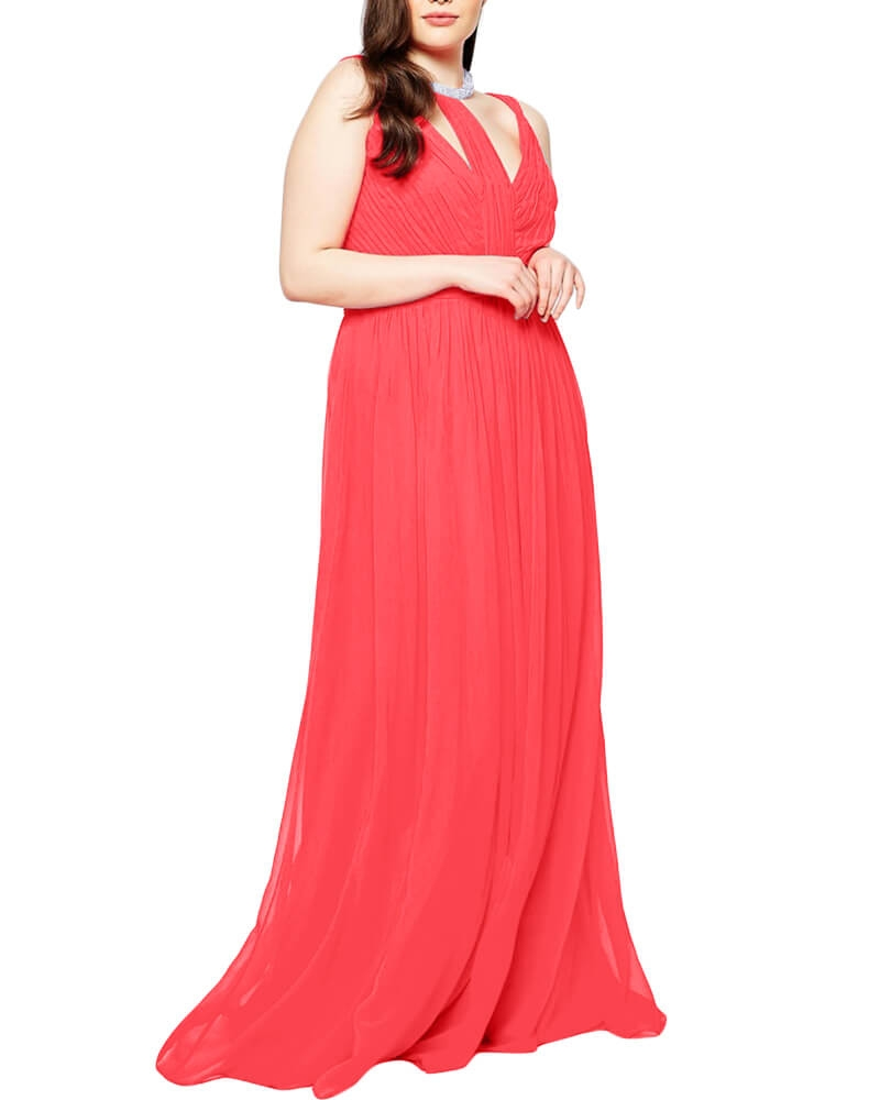 Panelled Chiffon Overlay Maxi Dress