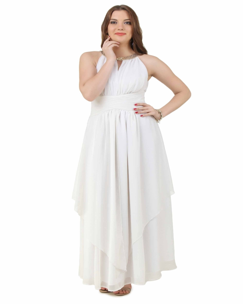 White Waterfall Gown
