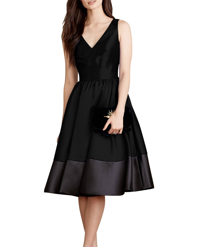 Jana Flounce Black Dress