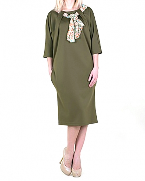 Stylish Free Dress With Pockets and Scarf