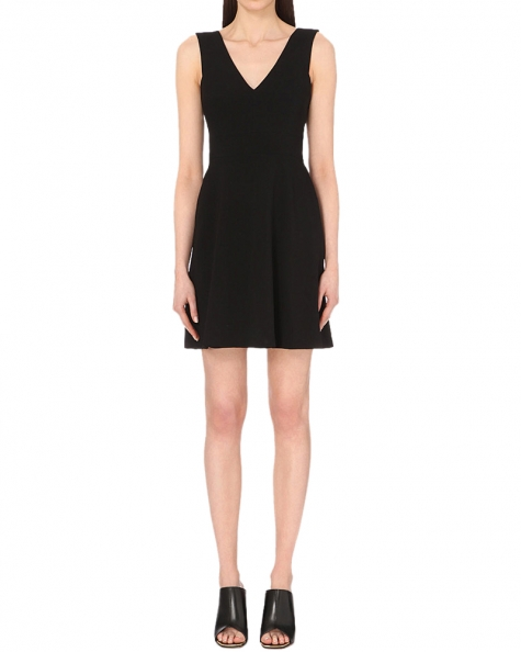 Bow Fit And Flare Dress- Black