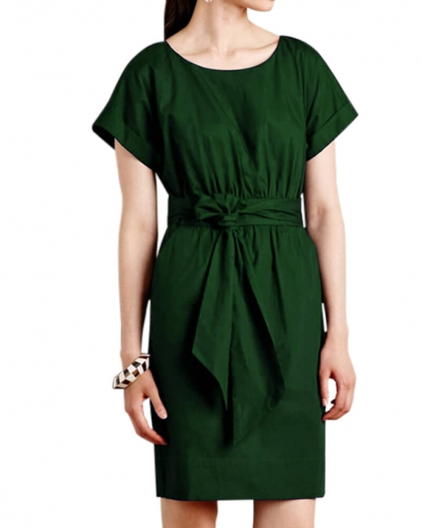 Forest Green Solid Dress