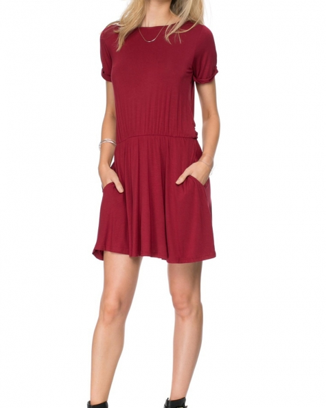 Slip- On Day Dress- Red