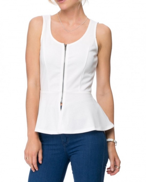 Dove Peplum Top- Ecru