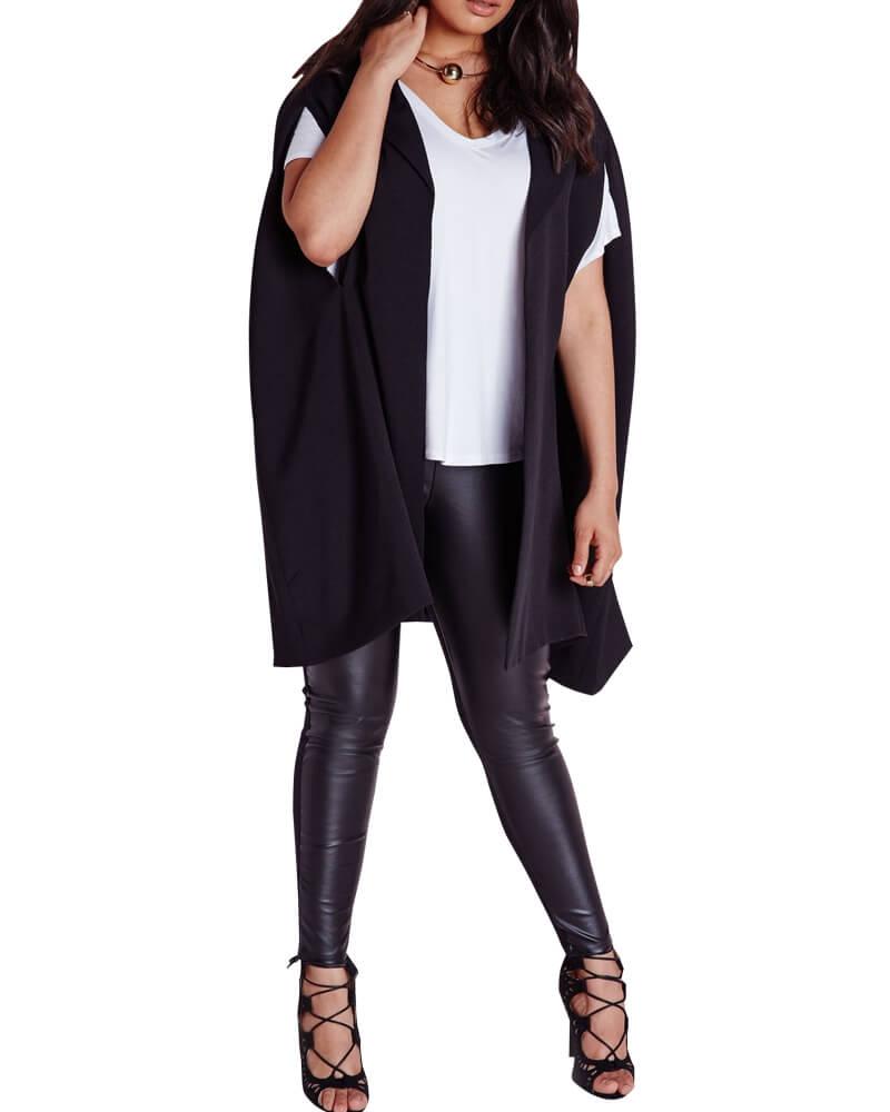 Plus Size Cape Blazer Crepe Black