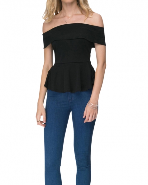Serene Off Shoulder Top Black