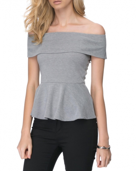 Serene Off Shoulder Top- Grey