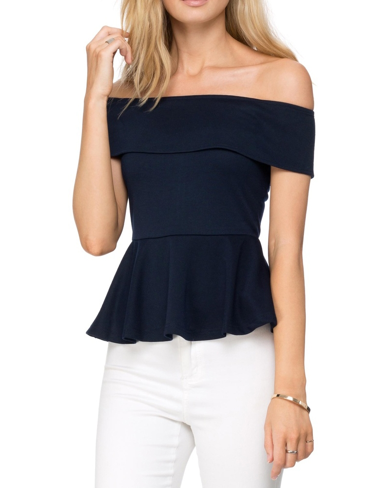Serene Off Shoulder Top- Navy