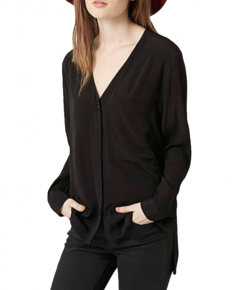 Black Slouchy Pocket Shirt