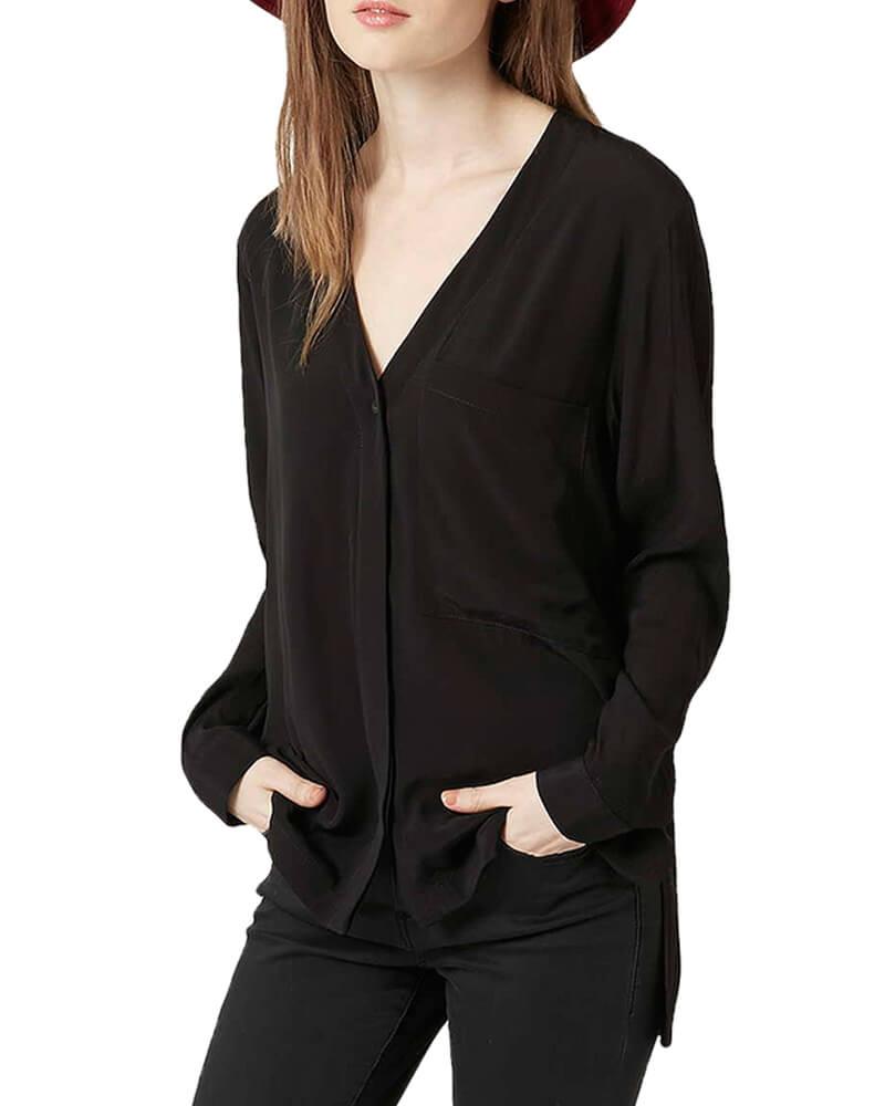 Black Slouchy Pocket Shirt