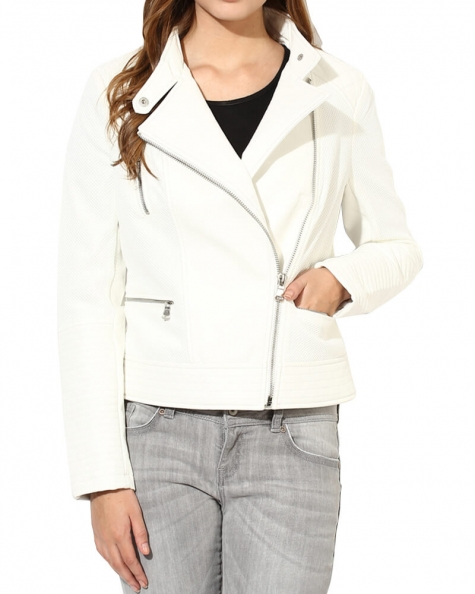 White Solid Winter Jacket