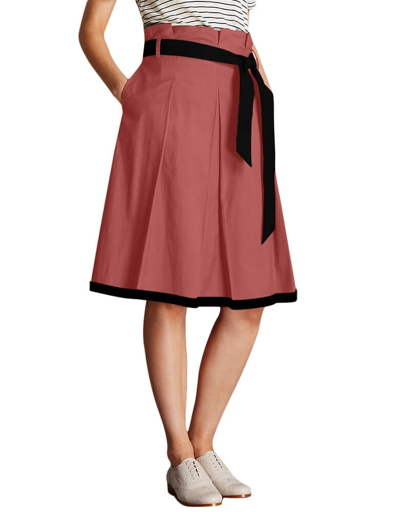 Belt looped Faded Rose A line skirt