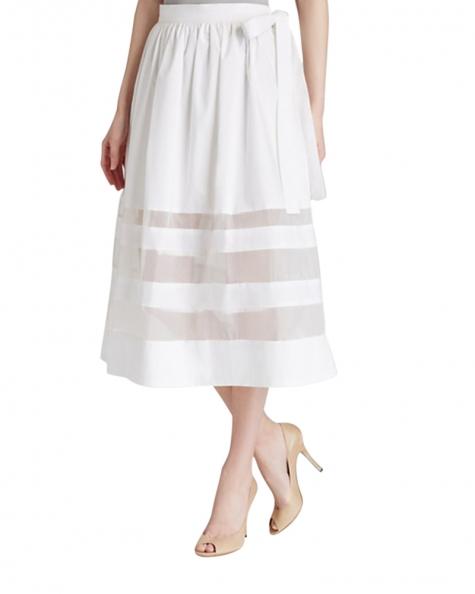 Camellias Transparent Stripe Skirt