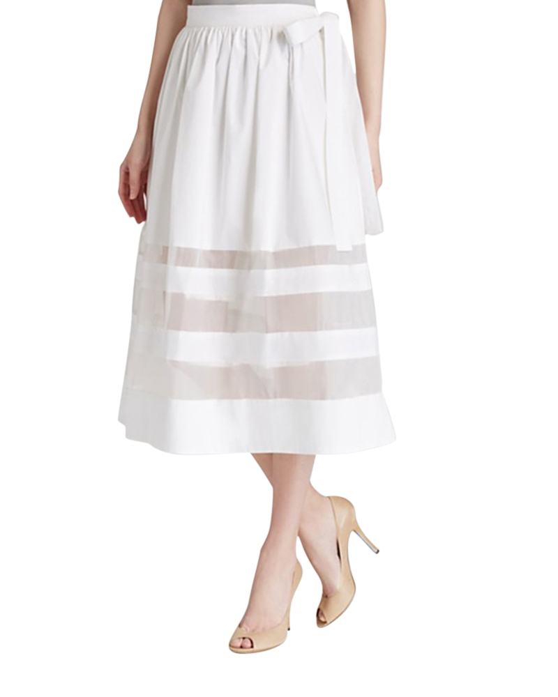 Camellias Transparent Stripe Skirt