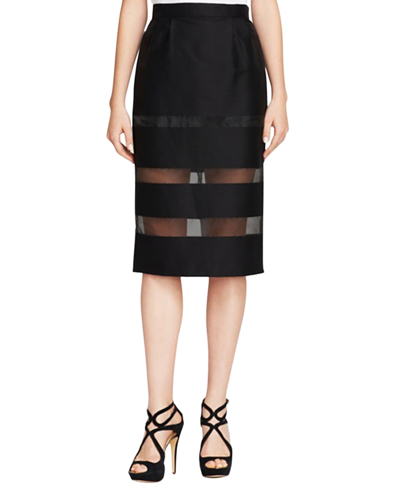 Charme  Transparent Striped Slim Skirt