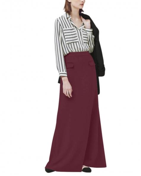 Decorative pockets maxi skirt