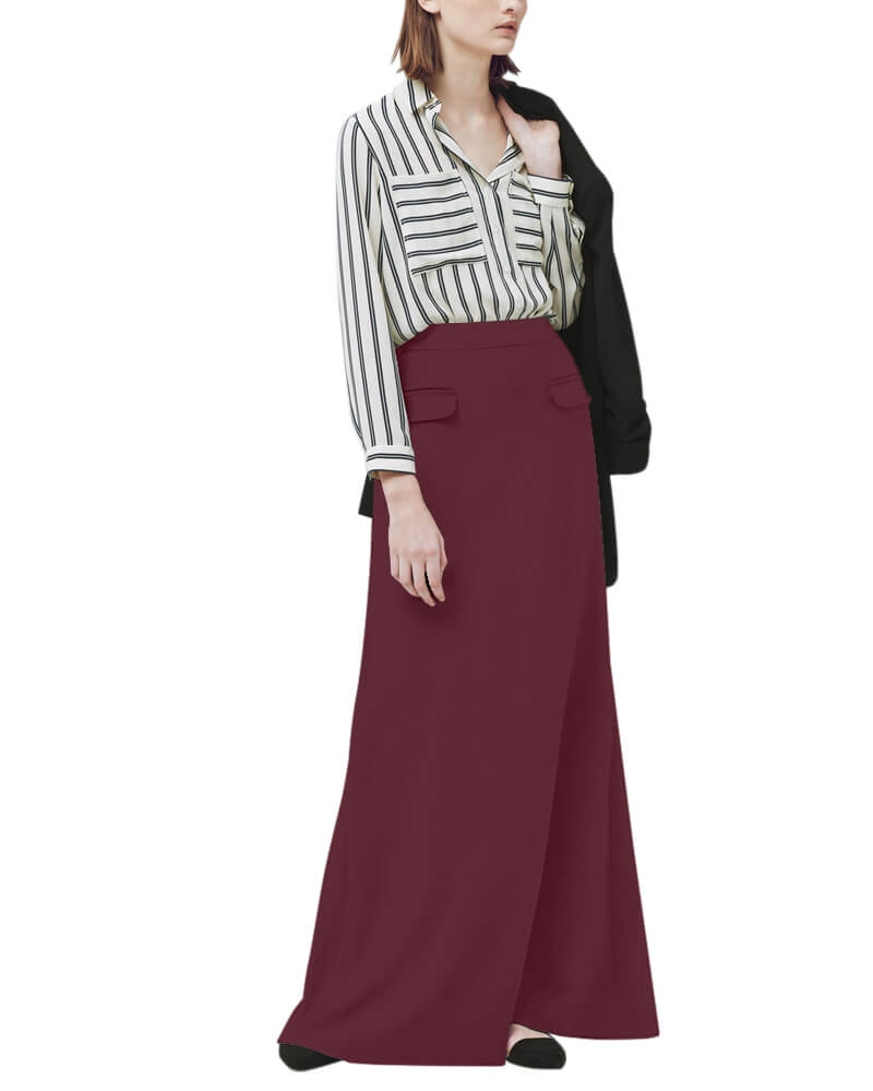 Decorative pockets maxi skirt