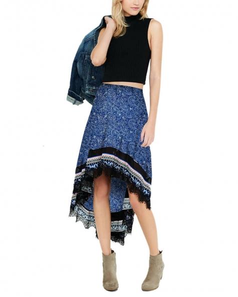 Floral Print Hi-Lo Hem Skirt