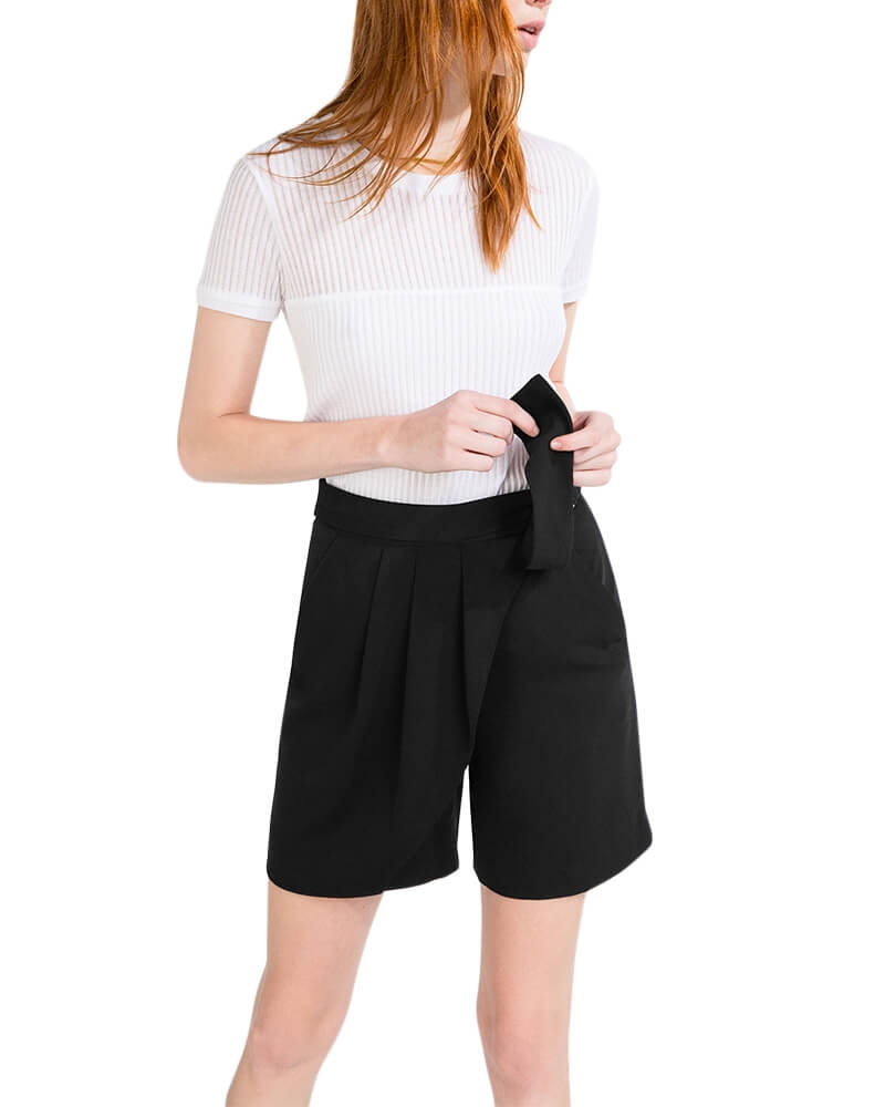 Pleated front smart shorts