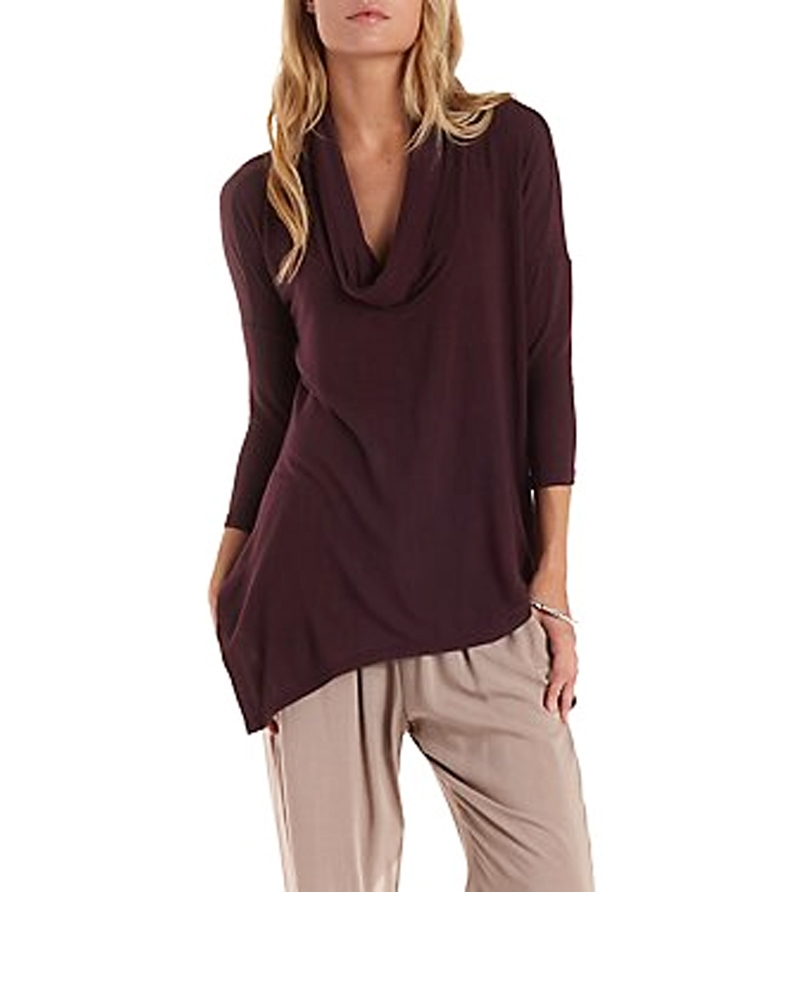 Cowl Neck Asymmetric Top