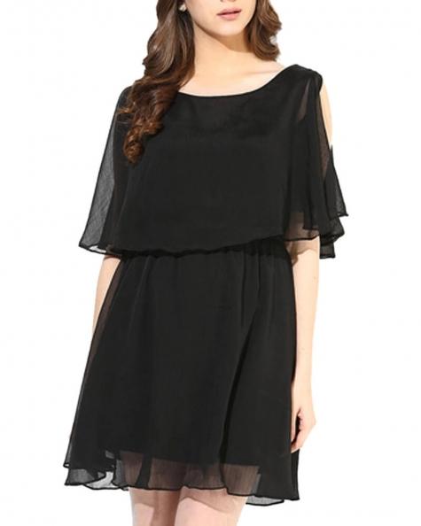 Flare Up Black Dress