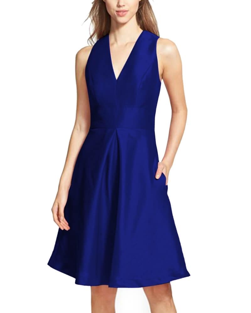 V-Neck Dupioni Cocktail Dress