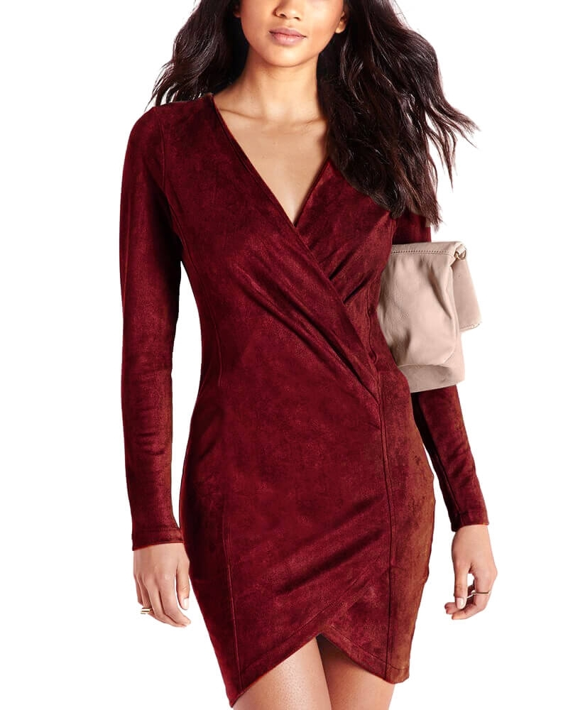 Long Sleeve Wrap Over Dress