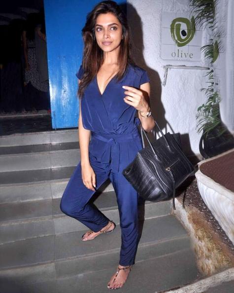 Deepika Padukone Surplice Neck Jump Suit