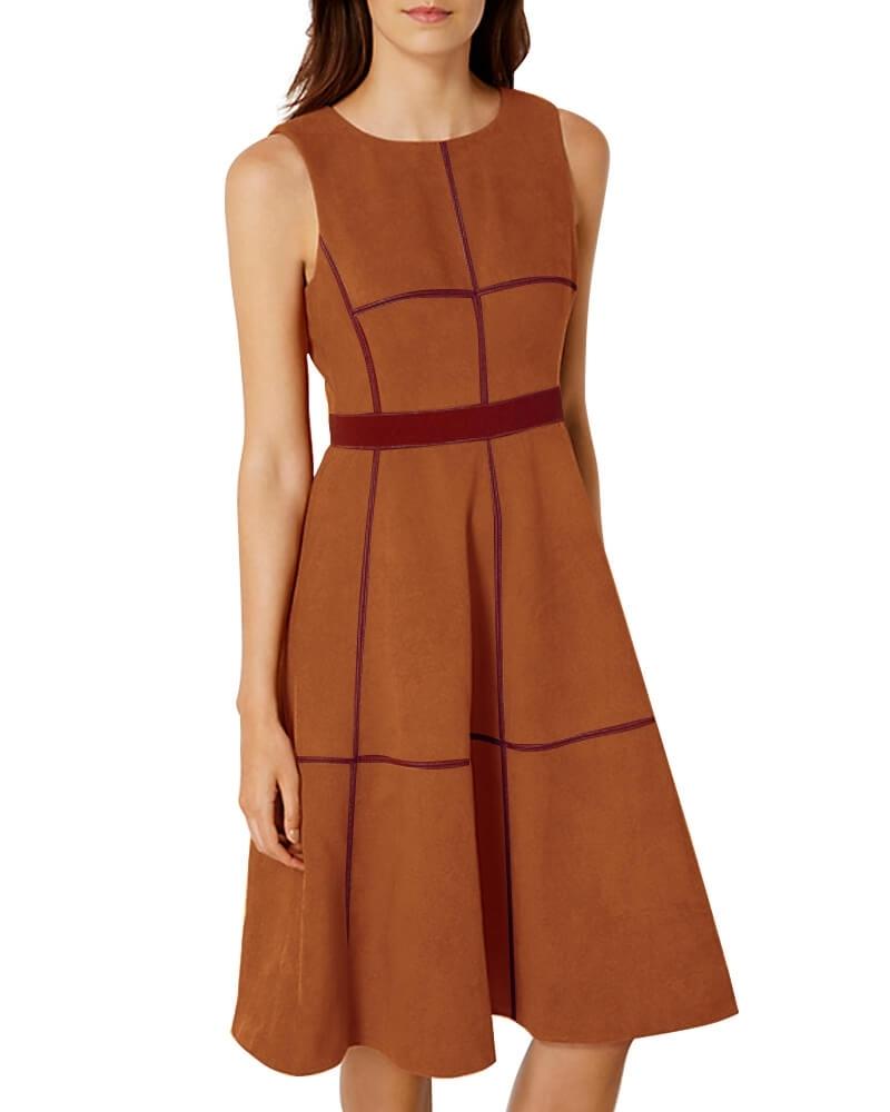 Suede Topstitch Block Dress
