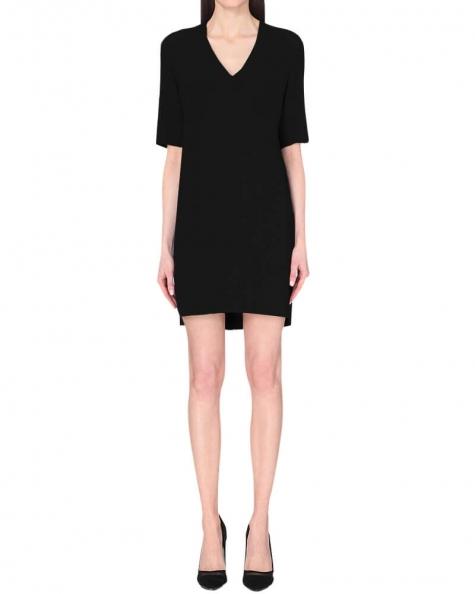 V Neck Shift Dress- Black