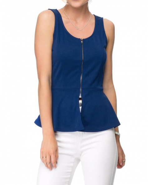 Dove Peplum Top- Blue