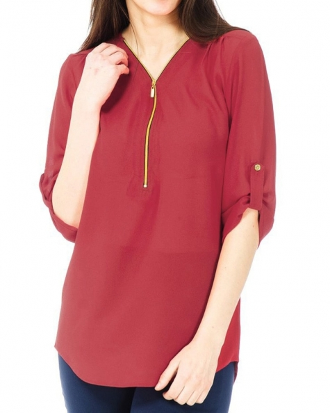 Red Fine Crepe Top