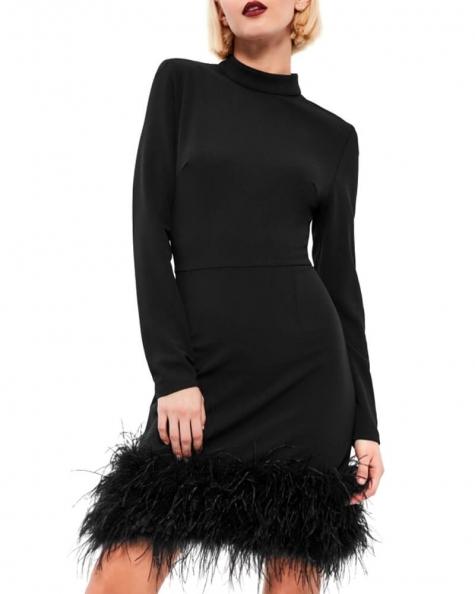 High Neck Feather Dress