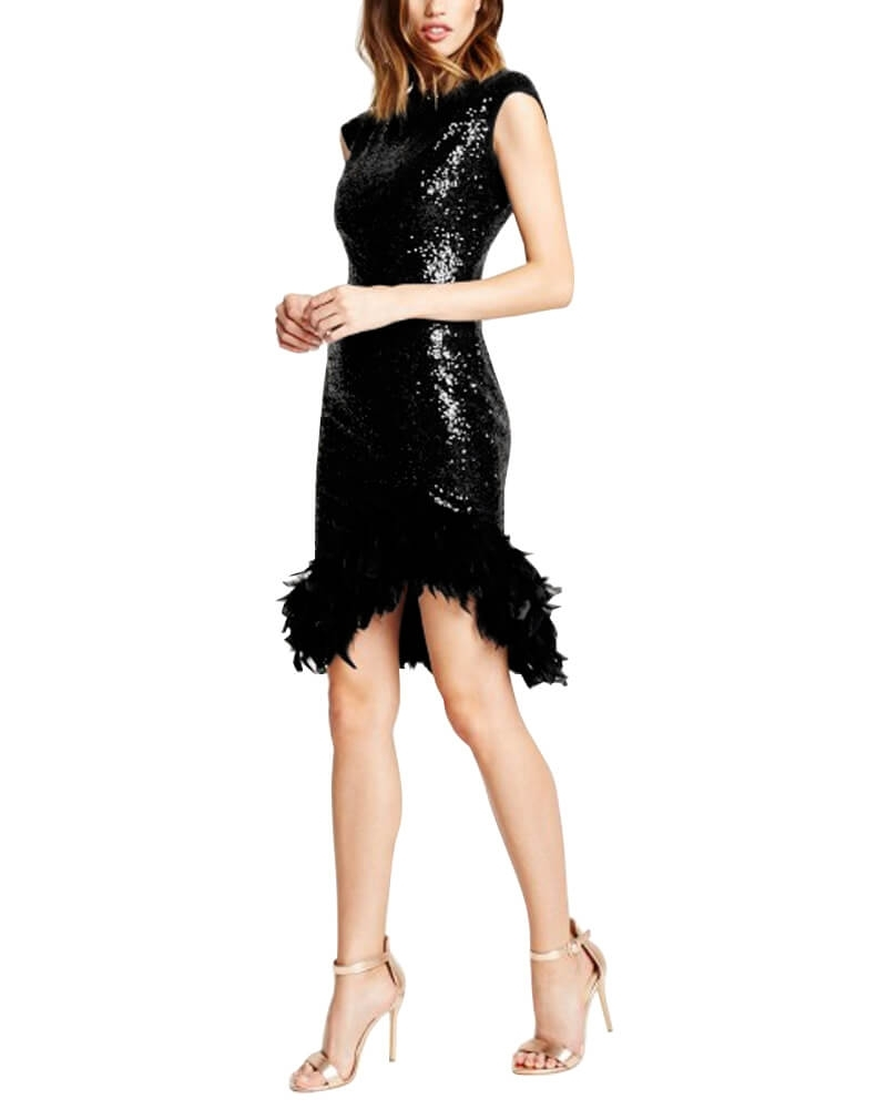 Feathery Hem Mini Dress