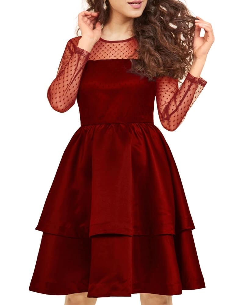 Sheer Satin Tiered Dress
