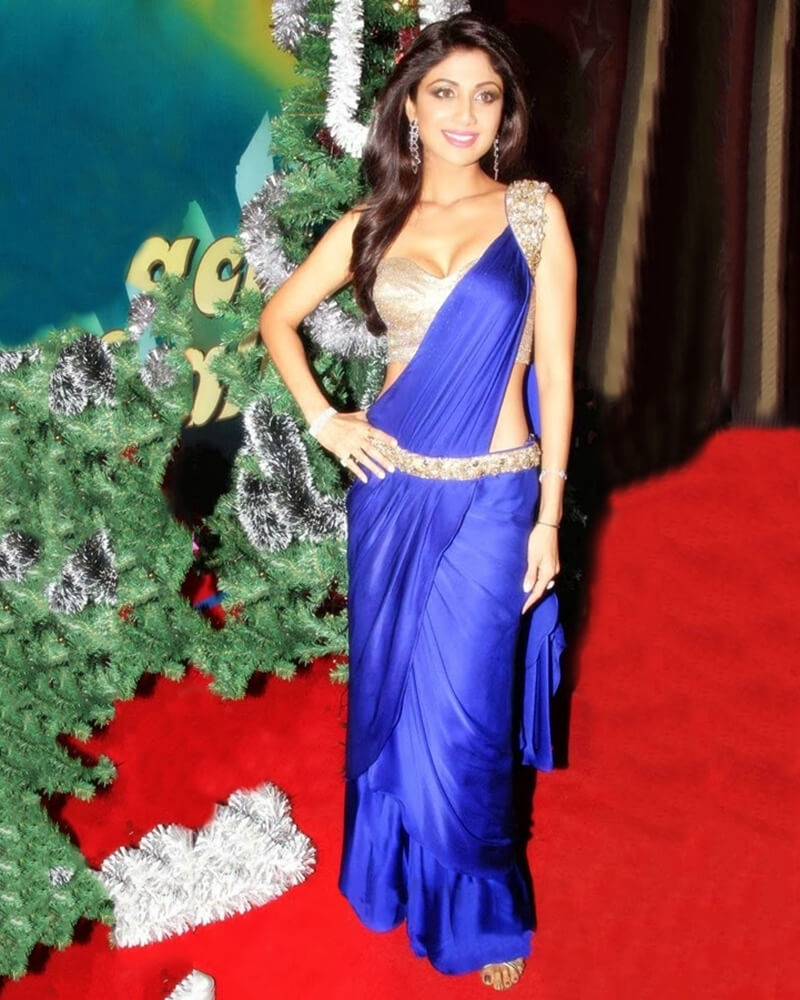 Shilpa Shetty- Electric Blue Saree Gown