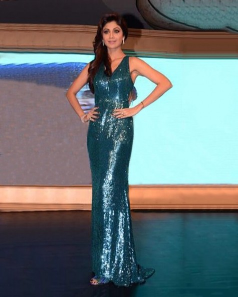 Shilpa Shetty-Teal Blue Shimmer Gown