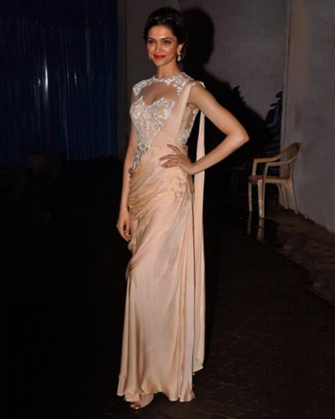 Deepika Padukone Nude Embroidered Saree Gown
