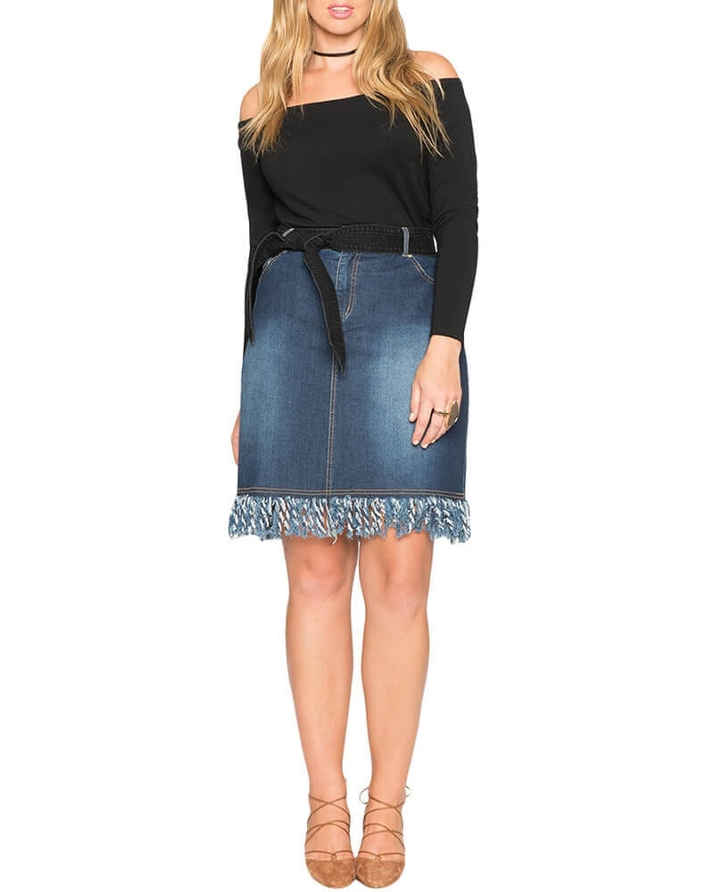 Fitzgerald fringed hem blue denim skirt