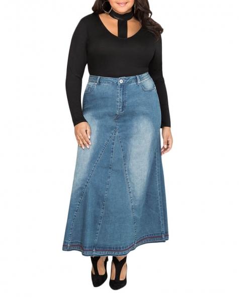Reynolds blue denim maxi skirt