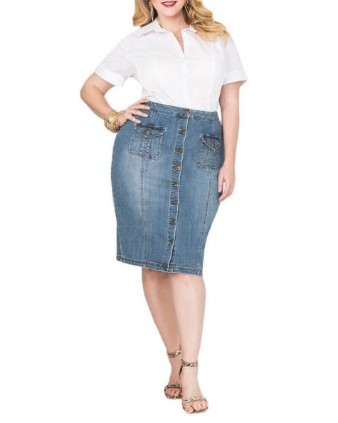 Molina button front denim skirt