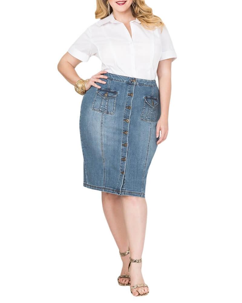 Molina Front Button Blue Denim Skirt