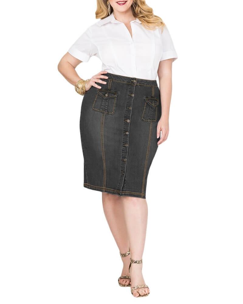 Molina Front Button Black Denim Skirt