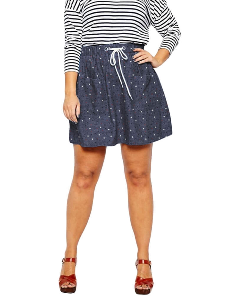 Cavanaugh elasticized denim skirt