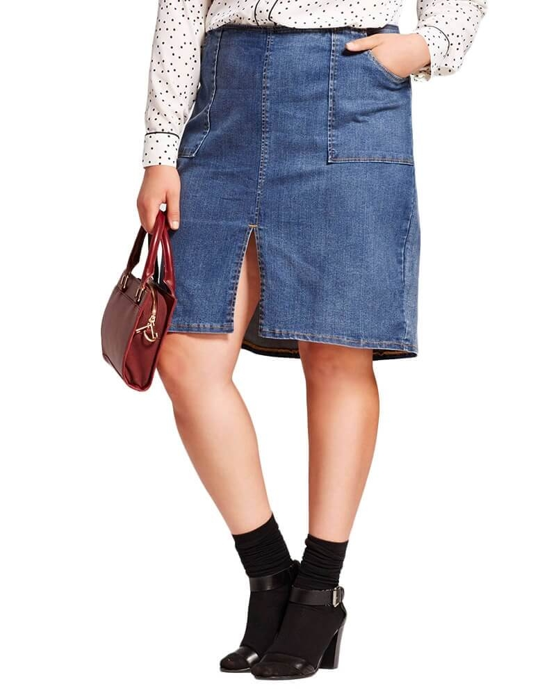 Santiago thigh slit denim skirt