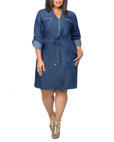 Abra drawstring waisted Denim dress