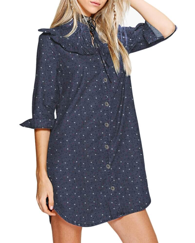 Eve ruffled yoke Denim dress