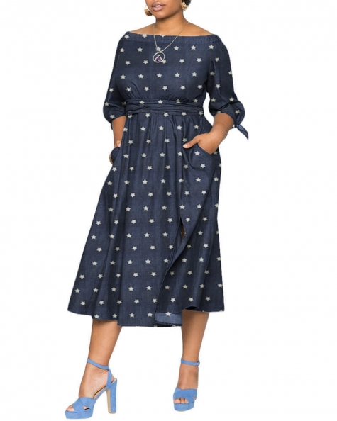 Keturah elasticized off shoulder Denim dress