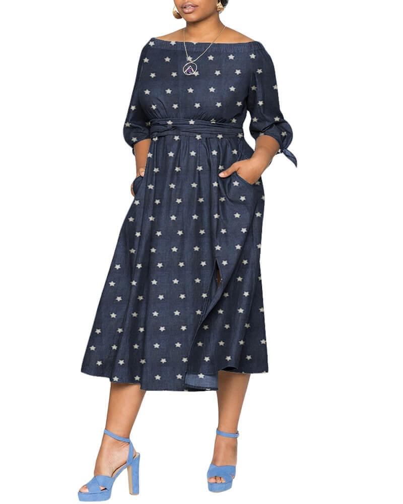 Keturah elasticized off shoulder Denim dress