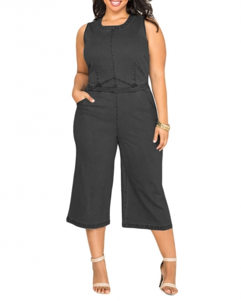 Paige crew neck Denim jumpsuit